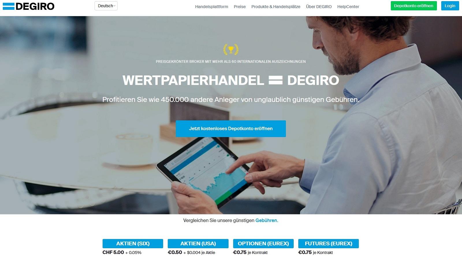 DEGIRO CH Depotkonto eröffnen und Login