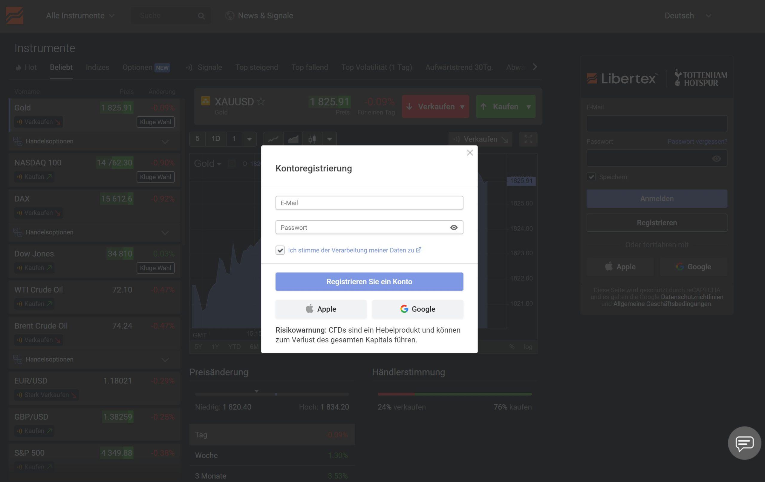 Trading Account Registrierung